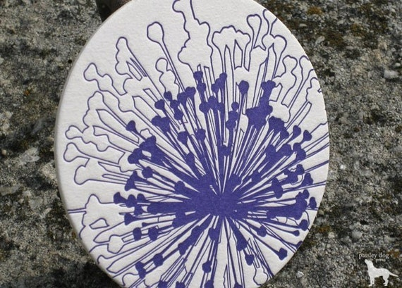 Abstract Dandelion - Letterpress Coaster Set (8 per package)