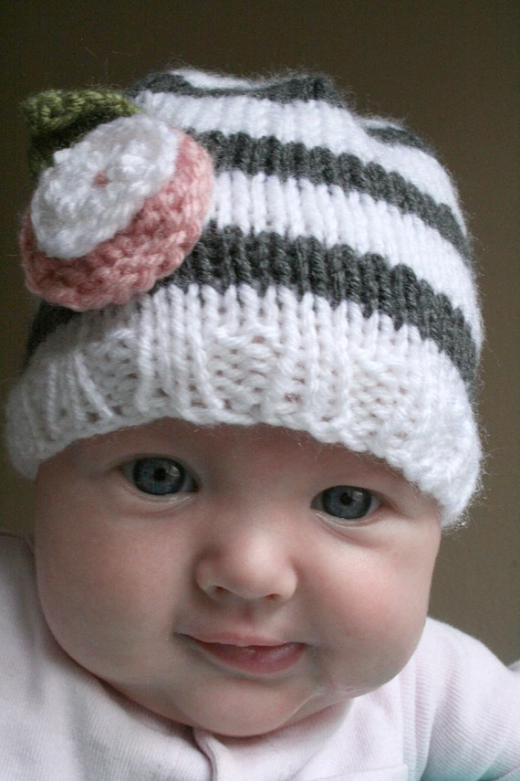 0-6 months, The Lolly - Sample Sale, Ready to Ship - striped flower hat for baby