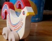 folk art bird toy- quail with a heart - nursery decor / wood push toy