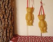 teddy bear beeswax ornaments (set of 3)