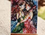 ACEO. Moon Sisters. star moon galaxy sailormoon