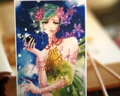ACEO. Ghost Caer. blue fairy anime manga flower