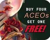 Buy four get one ACEO art card. fantasy goddess fairy