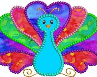 Peacock Bird Applique Machine Embroidery Designs 2 Sizes Included Instant Download Sale
