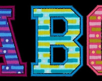 College Varsity Applique Machine Embroidery Monogram Fonts Designs Instant Download Sale