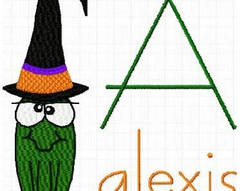 Halloween Witch Frog Machine Embroidery Monogram Fonts Designs Instant Download Sale