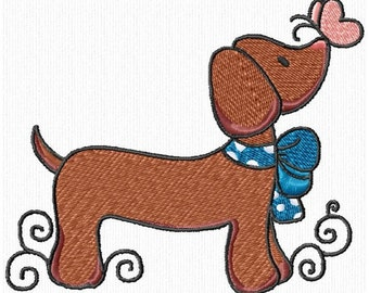 Cute Dachshund Daschuond Doxie Dogs Machine Embroidery Designs Instant Download Sale