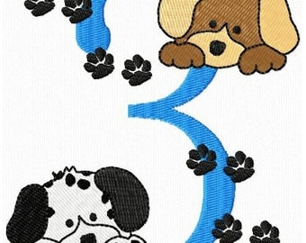 Cute Birthday Numbers Puppy Dogs Machine Embroidery Designs Instant Download Sale