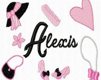 Girl Things Machine Embroidery Monogram Fonts Designs - Huge Set Instant Download Sale
