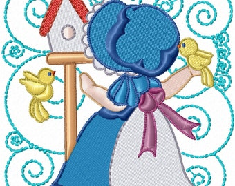 Sunbonnet and Bird Blocks Machine Embroidery Designs - Set of 12 Instant Download Sale