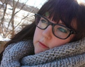 Smoke Hooded Cowl / Circle Scarf / Infinity Scarf