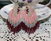 SALE hand beaded native style earrings fringe pink spring rose