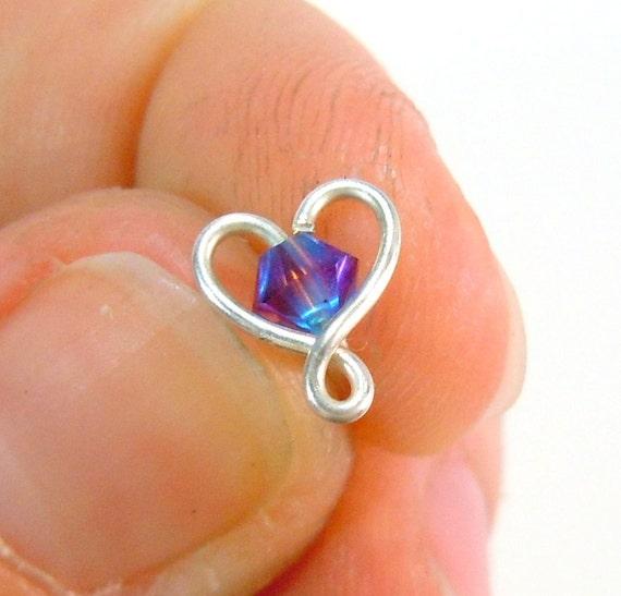 Purple Heart Nose RIng 20 gauge