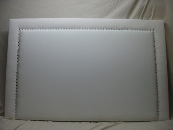 White Rectangular Headboard with Silver Nails