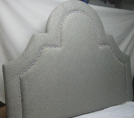 Morning Sun Upholstered Headboard with Nickel Nails Queen Size Upholstered Headboard Queen Headboard with Nails Upholstered Headboard