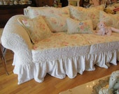 custom shabby sofa chic chenille bedspread slipcover white pink roses couch cottage prairie