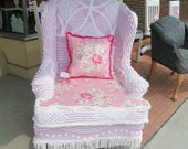 wingback chair  shabby chic pink vintage chenille bedspread slipcover rose fabric  prairie cottage