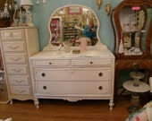 FAB antique chic dresser shabby white distressed cottage prairie bedroom vintage