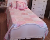 antique chic pink twin bed frame shabby distressed cottage prairie vintage single girls