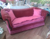 antique sofa couch shabby victorian chic red velvet vintage cottage hot pink tufted fringe