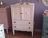 antique dresser shabby vintage chic white distressed cottage vintage prairie painted bird ribbon tall