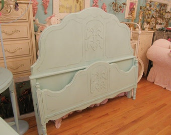 custom order antique shabby chic aqua blue full bed frame distressed cottage beach coastal double
