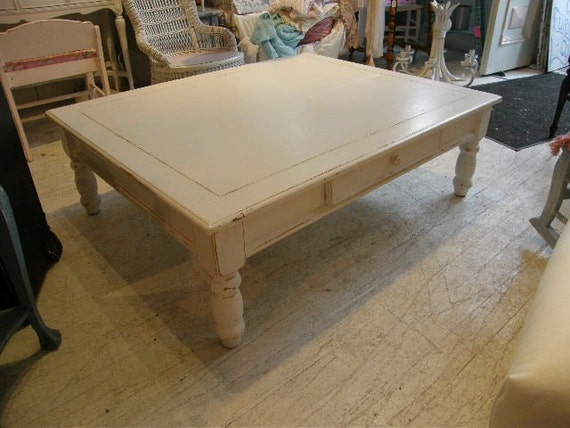 Huge Pine Coffee Table White Distressed Cottage Shabby Chic