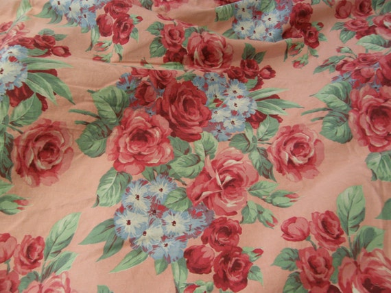 vintage pink roses barkcloth bedspread and curtain s shabby chic red FABULOUS fabric full double