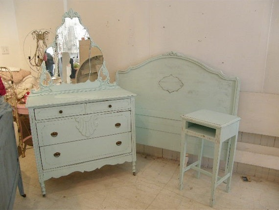 Tiffany Blue 3 Piece Shabby Chic Beach Cottage Bedroom Set