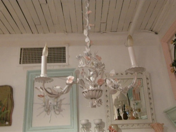 vintage tole chandelier shabby chic roses pink white cottage girls bedroom