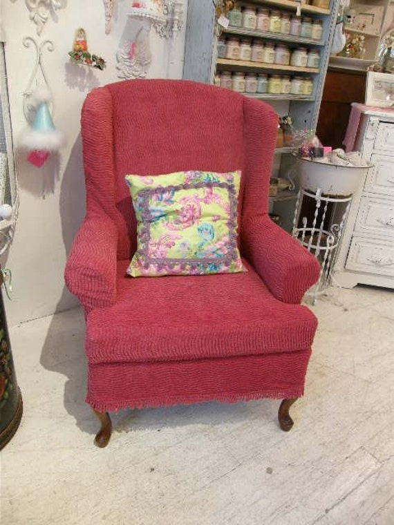shabby wingback chair chic slipcovered vintage chenille bespread  red cottage prairie
