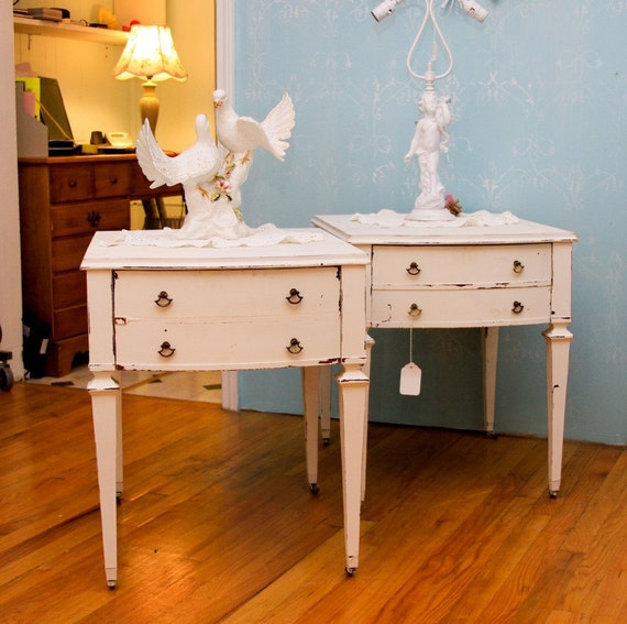 pair of vintage mahogany end table s nightstand s just lovely shabby cottage chic white distressed