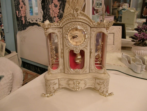 Vintage Shabby Chic Jewelry Box Clock Musical French
