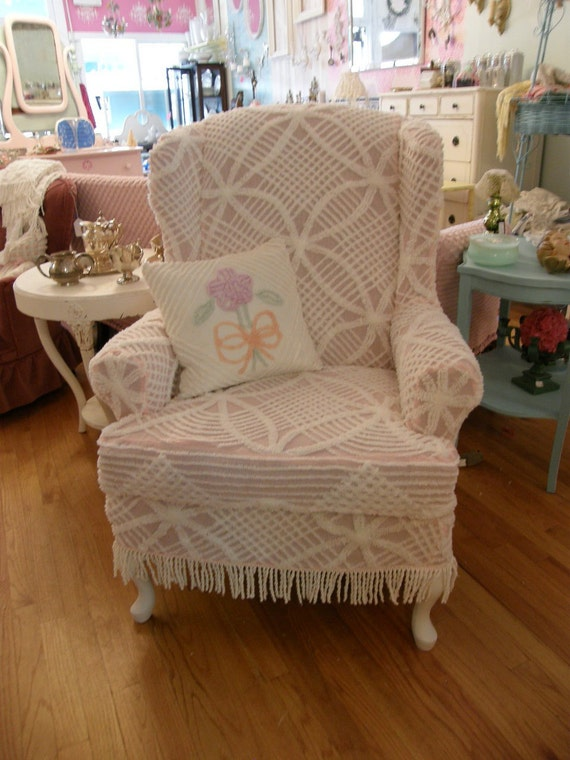Wingback Chair Vintage Pink Chenille Bedspread Slipcover