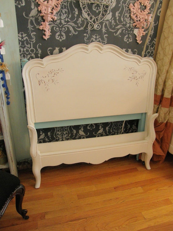 Vintage Shabby Chic Twin Bed Frame White Distressed French
