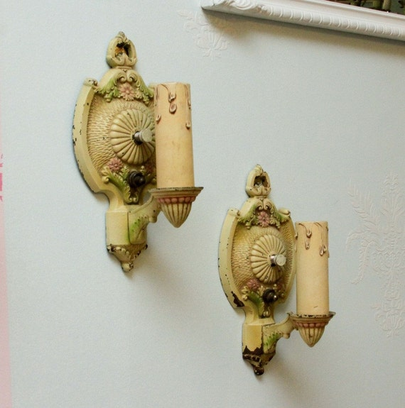 antique sconce pair shabby chic chippy flowers pinks ivory wired