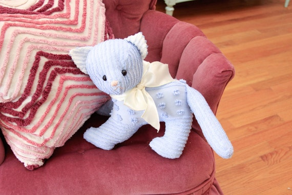 cat kitty vintage chenille bedspread shabby chic stuffed animal cottage boy baby