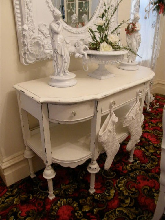 antique white shabby chic distressed buffet console entry. Black Bedroom Furniture Sets. Home Design Ideas