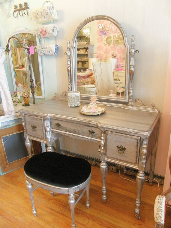 Omg Silver Distressed Vanity And Bench By Vintagechicfurniture