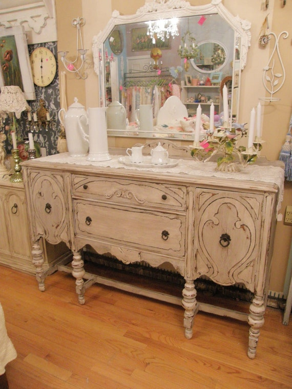 Shabby Chic Antique Buffet French Gray And By