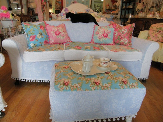 Sale Shabby Chic Antique Sofa Couch Chenille Bedspread
