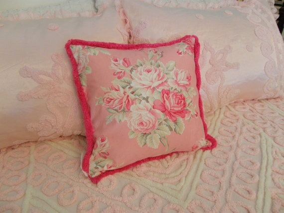 Shabby Chic Pink Pillows : shabby chic pink pillow roses with hot by VintageChicFurniture