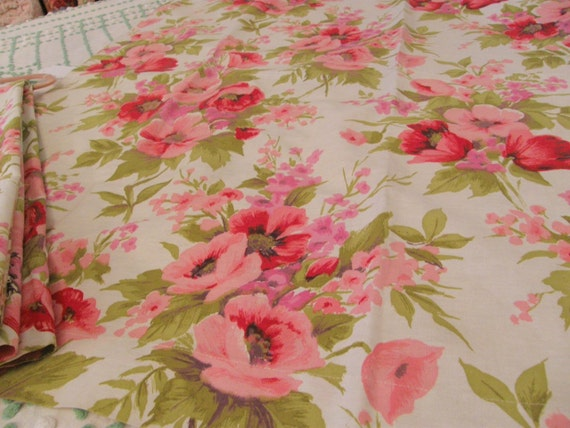 vintage curtain fabric pink poppies shabby chic cottage mid century retro