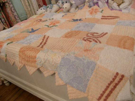 vintage chenille bedspred baby quilt throw shabby chic peach tangerine blanket shower gift