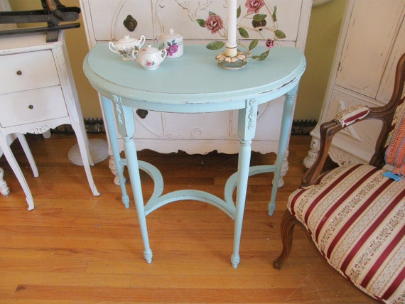 antique table shabby chic aqua blue entry foyer distressed coastal beach cottage console