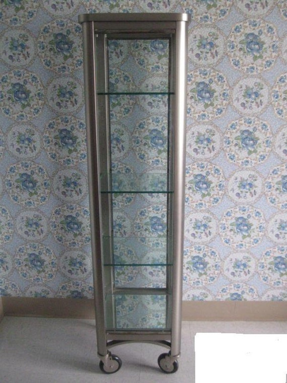 Vintage Ethan Allen Radius Curio Cabinet Brushed Stainless