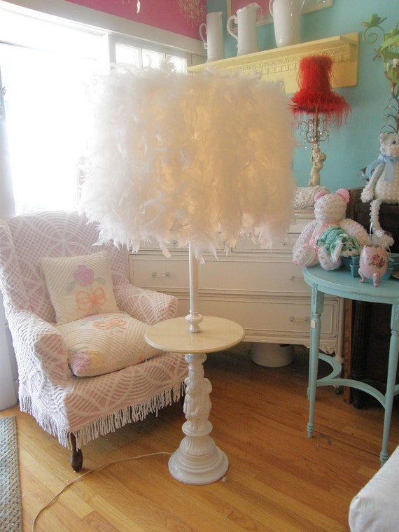 FAB vintage lamp table feather shade white cherub angel shabby chic  table cottage prairie modern