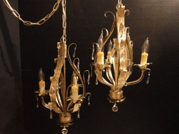 pair vintage tole chandeliers shabby chic silver crystals silver metal