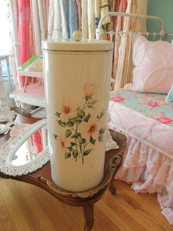 Vintage Tole Hamper Laundry Basket Off White Pink Roses Shabby