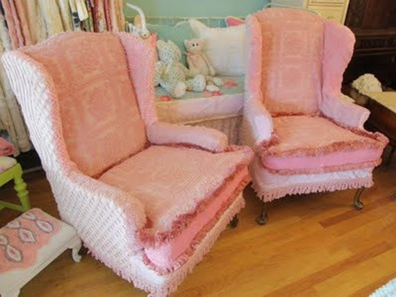 custom made pair wingback chairs vintage chenille bedspread slipcovers shabby chic prairie cottage pink white